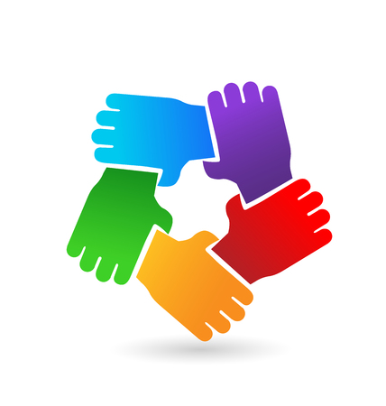 Group of colored hands icon holding eachother in a circle