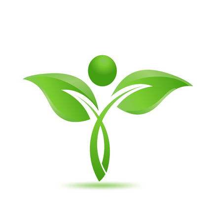 Illustration of a green leaf icon on a white background