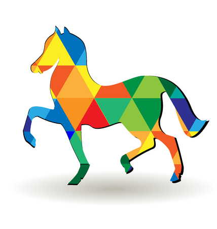 Artistic triangular abstract horse icon