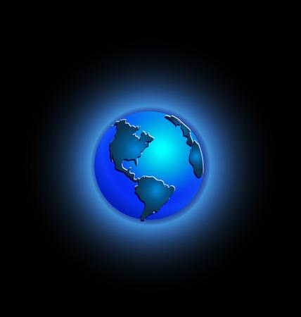 Blue illustration of planet earth icon Çizim
