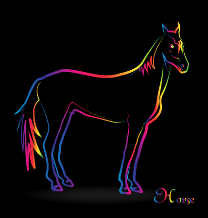Horse with colorful outline vector