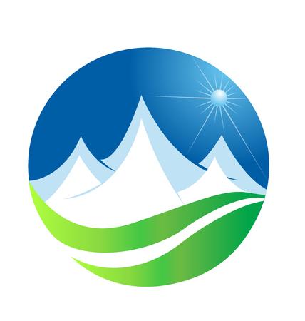 Mountain terrain field icon Ilustração