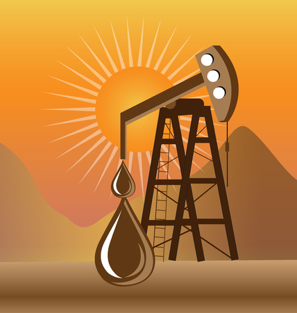 Oil drilling process icon Illustration