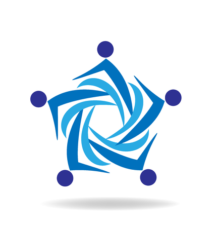 Blue teamwork people business icon