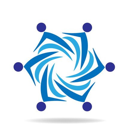 Blue teamwork people business icon vector