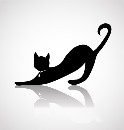 Black cat silhouette icon vector