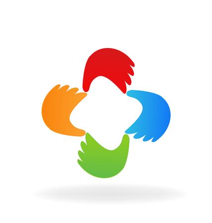 Teamwork hands group icon vector symbol