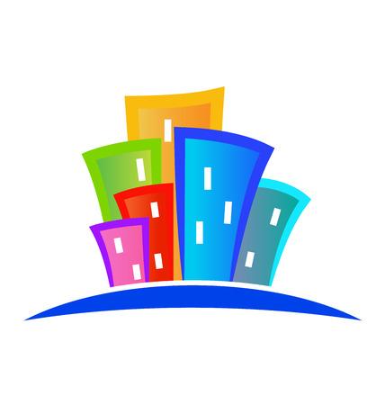 Modern buildings logo colorful design vector template Illustration