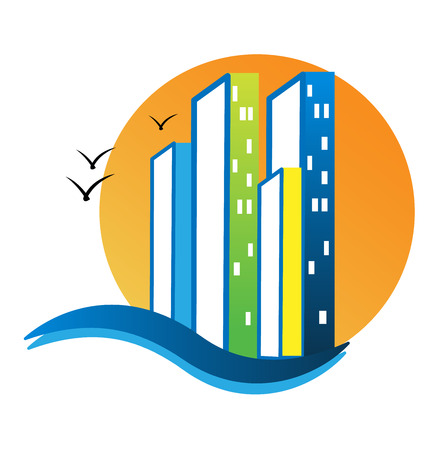 City buildings and sea beach icon vector illustration.