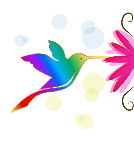 Colorful hummingbird symbol illustration on white background.