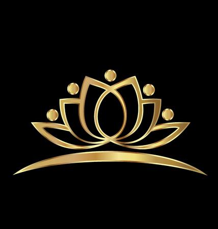 Golden Lotus logo Concepto de riqueza imagen vectorial