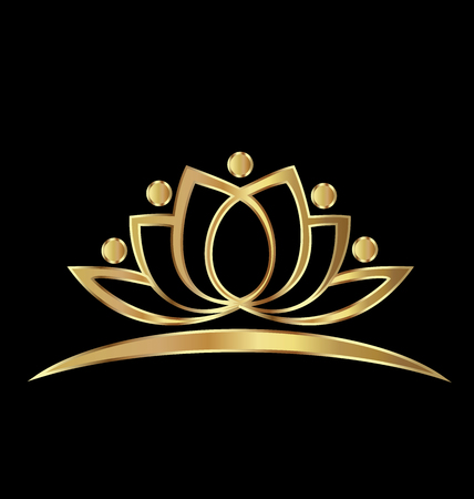 Golden Lotus logo Concept of wealth vector image Illustration