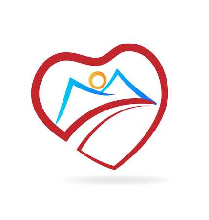 Mountain heart love icon vector illustration.