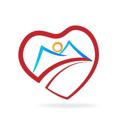 Mountain heart love icon vector illustration.