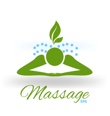 Massage green icon logo vector