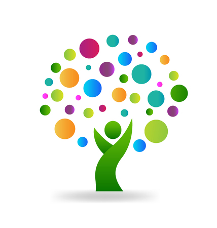 Tree people with colorful circles environment symbol logo template
