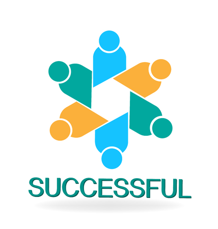 Successful teamwork group text vector illustration. Illustration