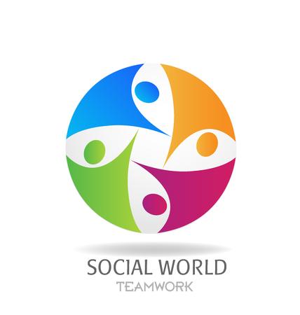 Logo teamwork social media networking around world business card graphic design Stock Illustratie