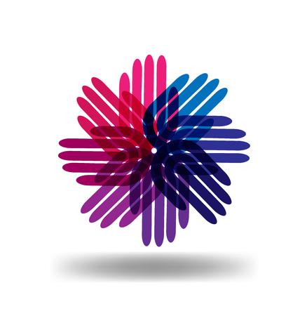 Hands team as a flower logo vector
