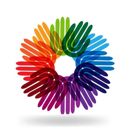 Hands multi-ethnic team as a flower logo vector Stock Illustratie