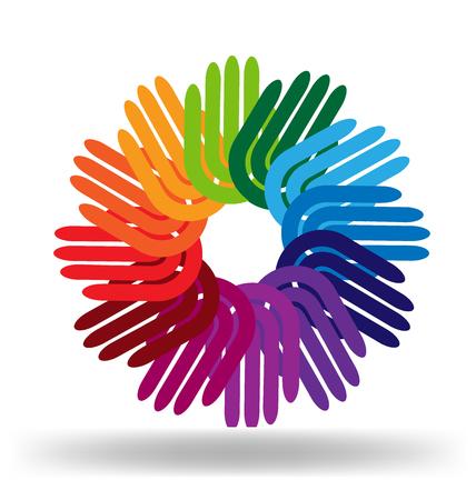 Hands diversity team as a flower logo vector