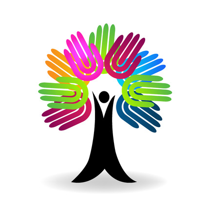 Hands tree  help-charity concept  logo vector