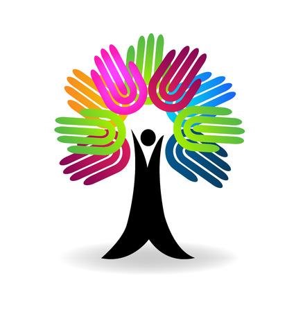 Vecteur de logo concept aide-charité arbre mains