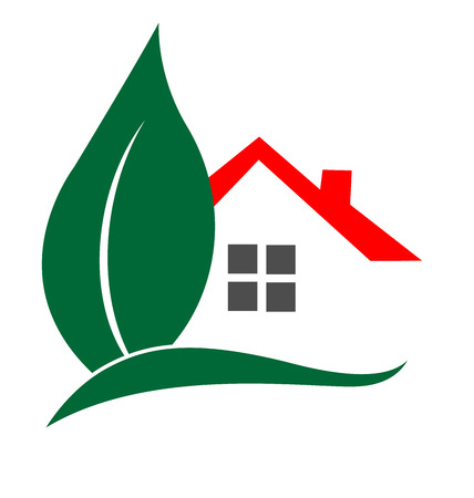 House and leaf logo vector Real Estate concept
