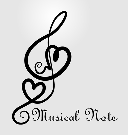 Heart and musical notes background vector illustration.