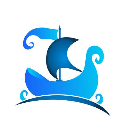Blue boat vintage logo illustration vector icon Illustration