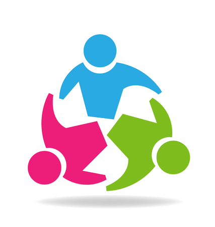 Teamwork business people logo vector design