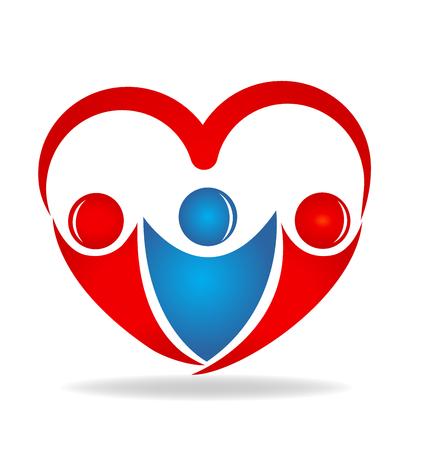 Friendship love heart shape logo design vector icon
