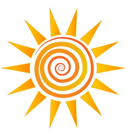 Sun and wavy beach logo