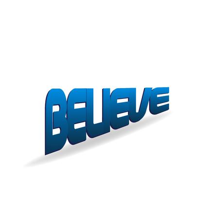 Believe blue word. Religion faith concept 向量圖像