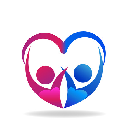 Valentines couple of love heart shape logo vector  向量圖像