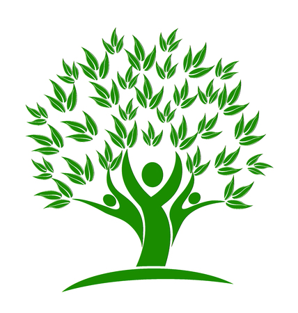 Green tree teamwork people logo vector