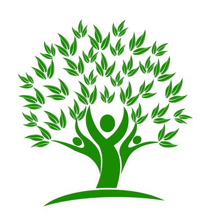 Green tree teamwork people logo vector