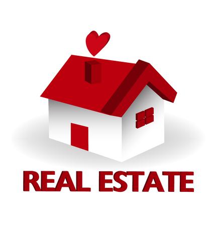 Real estate red house logo vector Illustration
