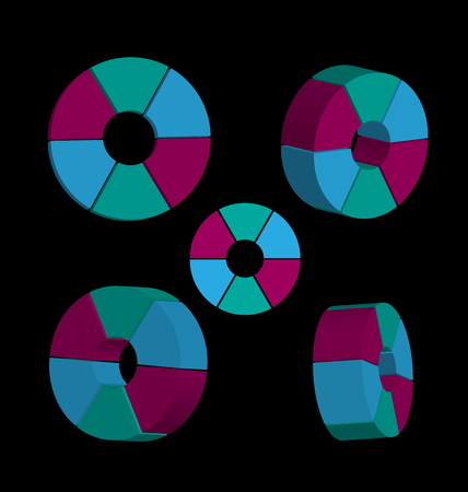 Set of abstract 3d circles colorful vector design