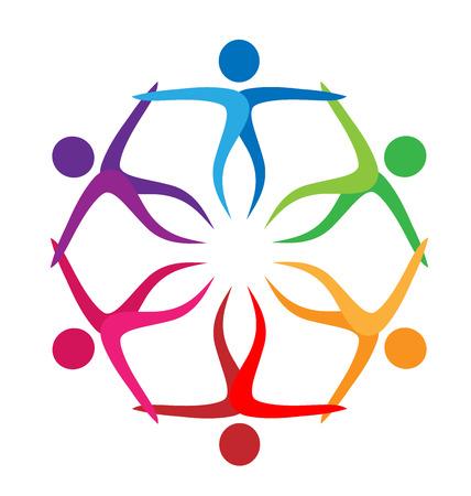 Team of people making a flower shape, web logo vector Illustration