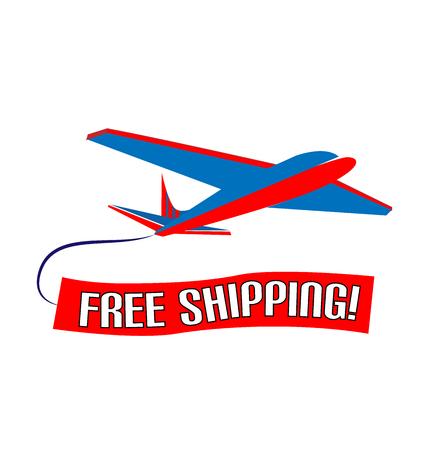 Air plane free shipping slogan vector design.