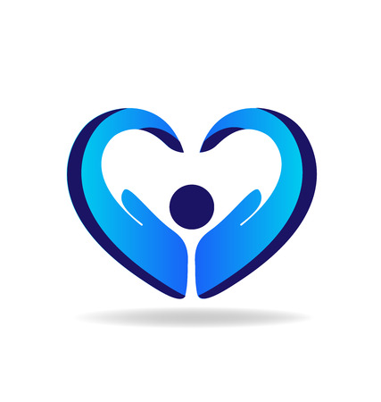 Hands protection blue heart shape logo vector