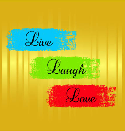 Vector hipster graphic design of Live laugh love textured paint on gold background Vectores