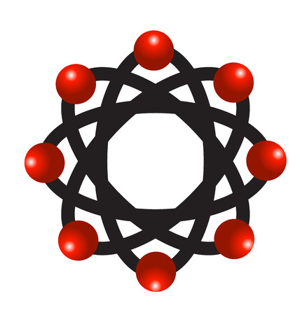 Vector of abstract atomic molecular team laboratory icon logo Illustration