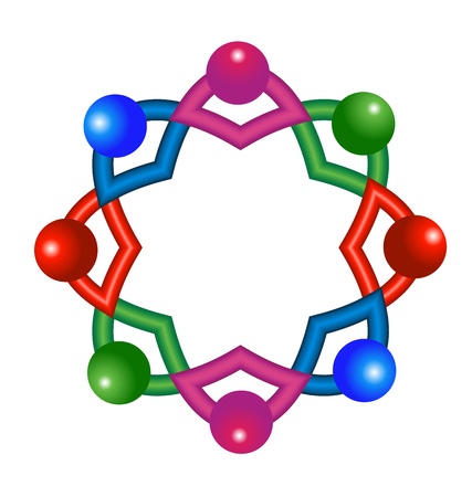 Vector of abstract atomic molecular team laboratory icon logo  イラスト・ベクター素材