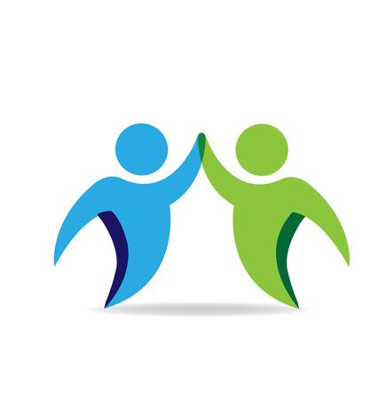 Handshake business hi peope vector icon logo Illustration