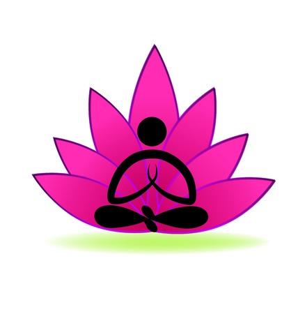 Lotus yoga man logo vector Illusztráció