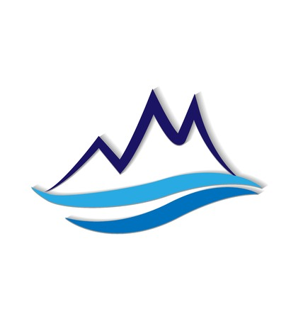 Blue mountain logo Vector illustration. Ilustração