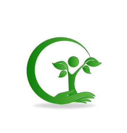 Health nature hand care tree logo vector