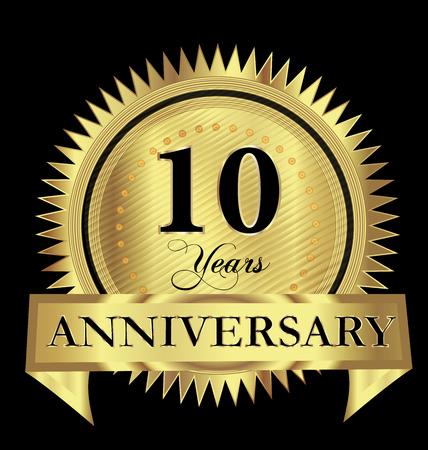 10 years anniversary gold seal vector design Illustration